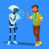 Il robot malato starnutisce al vettore spaventato dell'uomo Illustrazione isolata royalty illustrazione gratis