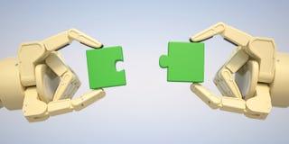 Il robot mette il puzzle raduna Immagine Stock