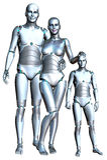 Il robot moderno Familiy di Android ha isolato Immagini Stock