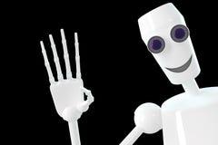 Il robot mostra il gesto ciao fotografia stock libera da diritti