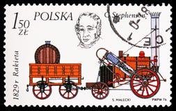 Il Rocket di George Stephenson, 1829, storia del serie locomotivo, circa 1976 immagine stock libera da diritti