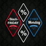 Il rombo collega gli ornamenti cyber di Black Friday lunedì Immagini Stock