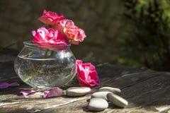 Il rosa è aumentato mazzo su fondo rustico di legno fotografia stock