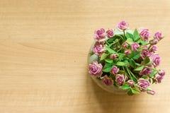 Il rosa è aumentato vasi su fondo di legno fotografie stock