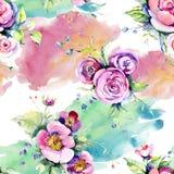 Il rosa ? aumentato fiori botanici loral del mazzo Insieme dell'illustrazione del fondo dell'acquerello Modello senza cuciture de illustrazione vettoriale