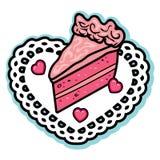 Il rosa del biglietto di S. Valentino ha messo a strati il centrino di bianco delle caramelle del cuore della glassa del dolce di Fotografia Stock Libera da Diritti