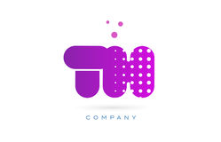 il rosa del Th la t h punteggia l'icona dell'alfabeto di logo della lettera Fotografia Stock