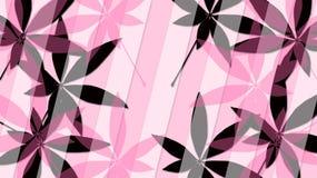 Il rosa ed il nero va su un fondo rosa Fotografia Stock