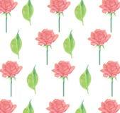 Il rosa ha guidato e lascia la carta da imballaggio della carta da parati della cancelleria senza cuciture del fondo Fotografia Stock Libera da Diritti
