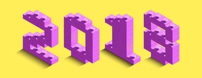il rosa isometrico 3d numera dal mattone di lego su fondo giallo testo 3d circa il nuovo anno Fotografia Stock