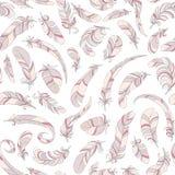 Il rosa mette le piume al modello semless Fotografia Stock