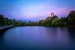Il rosa si rannuvola la torre di affari ed il lago Woehrder vede dentro fotografie stock libere da diritti