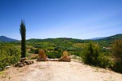 Il Rossiglione, Valchiusa, Francia - vista alle vigne Immagine Stock Libera da Diritti