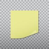 Il rosso appuntato autoadesivo giallo con l'angolo arricciato, aspetta per il vostro messaggio Illustrazione di vettore Immagini Stock