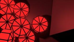 Il rosso astratto 3d barrels il fondo Immagini Stock
