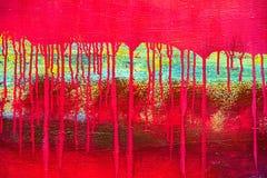Il rosso astratto ha dipinto la tela con i gocciolamenti della perdita della pittura Immagini Stock