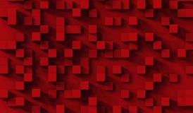 Il rosso cuba il modello astratto del fondo illustrazione 3D Fotografia Stock Libera da Diritti