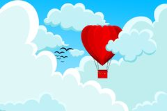 Il rosso, cuore ha modellato la mongolfiera illustrazione di stock