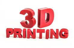 Il rosso 3d-printed segna il ` con lettere di stampa del ` 3D su un fondo bianco illustrazione di stock