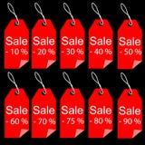 Il rosso di vendita di acquisto etichetta l'insieme di etichette Fotografie Stock Libere da Diritti