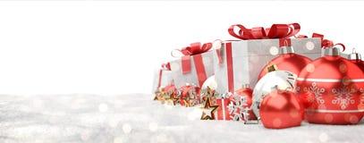 Il rosso ed i regali e le bagattelle di natale bianco hanno allineato la rappresentazione 3D Fotografia Stock Libera da Diritti