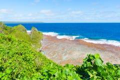 Il rosso ha colorato il fondo circostante dello scaffale di corallo dell'isola del Niue Immagine Stock Libera da Diritti