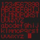 Il rosso ha condotto l'alfabeto inglese maiuscolo e minuscolo, numero Immagine Stock