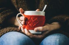 Il rosso ha tricottato la tazza di lana con il modello del cuore in mani femminili Immagini Stock