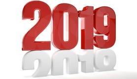 il rosso 2019 isolato sopra vecchi 2018 3d rende Immagine Stock