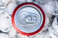 Il rosso può in cubetti di ghiaccio Concetto freddo della bevanda Immagine Stock Libera da Diritti