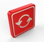 Il rosso rinfresca il bottone 3D Fotografie Stock Libere da Diritti