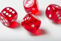 Il rosso taglia il fondo a cubetti isolato su bianco Immagine Stock