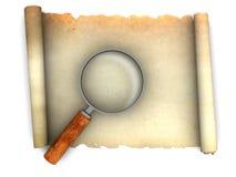 Il rotolo di carta ed ingrandice il vetro illustrazione di stock