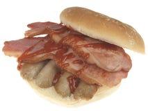 Rotolo di salsiccia e del bacon immagini stock