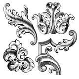 Il rotolo vittoriano barrocco d'annata dell'ornamento floreale del monogramma del confine della struttura ha inciso il retro tatu illustrazione vettoriale