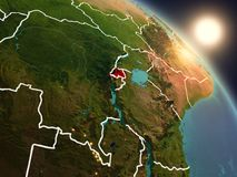 Il Ruanda da spazio durante l'alba Fotografie Stock Libere da Diritti