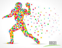 Il rugby, football americano con i cerchi di colore, rugby mette in mostra il giocatore - vector eps10 illustrazione di stock