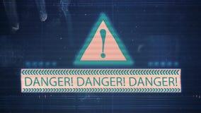 Il rumore della TV e dell'impulso errato con il pericolo dell'iscrizione stock footage