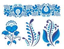 Il Russo orna lo stile del gzhel di arte dipinto con il blu sul vettore piega tradizionale del modello del ramo della fioritura d royalty illustrazione gratis