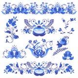 Il Russo orna lo stile del gzhel di arte dipinto con il blu sul vettore piega tradizionale del modello del ramo della fioritura d illustrazione vettoriale