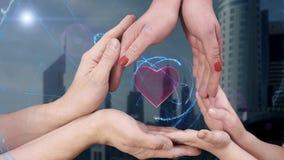 Il ` s degli uomini, il ` s delle donne e le mani del ` s dei bambini mostrano un cuore dell'ologramma 3D video d archivio