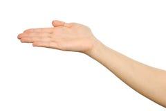 Il ` s della donna ha allungato la mano con la palma aperta Fotografie Stock Libere da Diritti