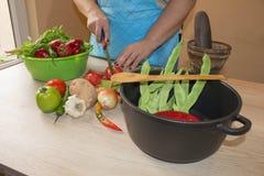 Il ` s della donna passa la cottura del pasto sano nella cucina, dietro gli ortaggi freschi Immagine potata delle verdure di tagl Immagini Stock Libere da Diritti