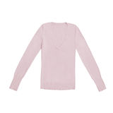 Il ` s delle donne arrossisce pullover colorato e rosa del v-collo, isolato su bianco Fotografia Stock