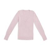 Il ` s delle donne arrossisce pullover rosa del v-collo, isolato su bianco Fotografia Stock Libera da Diritti