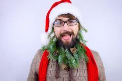 Il ` s di Santa ha decorato la barba Immagine Stock