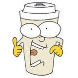 Il ` s indiquant à quelque chose la tasse de café images libres de droits