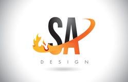 IL SA S un logo della lettera con le fiamme progettazione ed arancia del fuoco mormora royalty illustrazione gratis