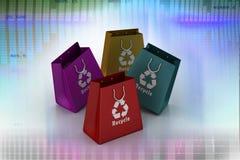 Il sacchetto della spesa con ricicla il simbolo Fotografia Stock Libera da Diritti