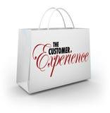 Il sacchetto della spesa di esperienza del cliente esprime il cliente Sati del cliente del compratore illustrazione di stock